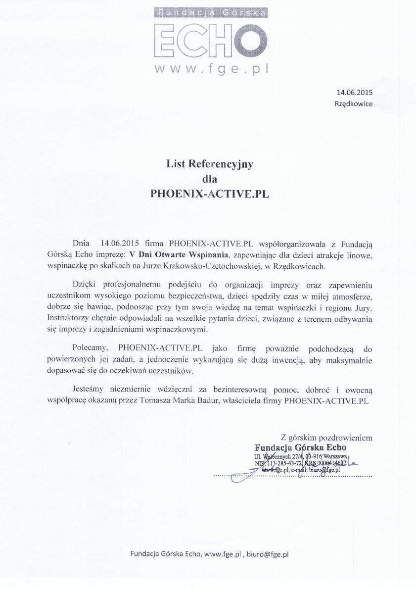 Referencje - Fundacja ECHO