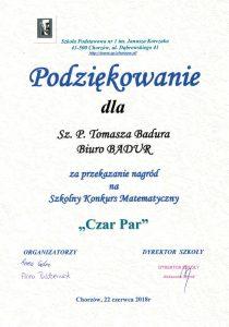 Podziękowanie odSzkoły Podstawowej nr1 im Janusza Korczaka wChorzowie