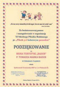 Podziękowanie odMSP nr1 wPiekarach Śląskich