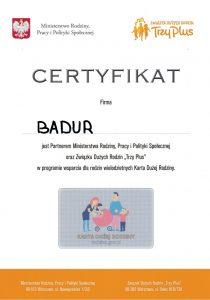 Certyfikat Karta Dużej Rodziny KDR - BADUR